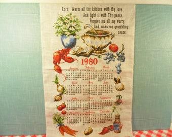 1980 Calendar Dish Towel - Linen - Religious Theme