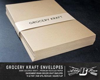25 Grocery Kraft A6 Envelopes | Kraft Envelope | 4.75 x 6.5 fits 4 x 6 Invitation | Environment Grocer Kraft Envelope