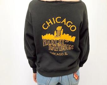 1978 Harley Davidson Chicago Sweatshirt // vintage dress shirt cotton t-shirt t shirt boho biker 70s 1970s top hippie hippy black tee // O/S