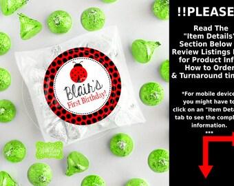 Ladybug Birthday Stickers - Ladybug Thank You Stickers - Ladybug Gift Stickers - Ladybug Favor Stickers - Digital or Printed Available