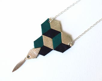 Long Necklace, Rhombuses, Geometric, Leather, Emerald, Black, Gold