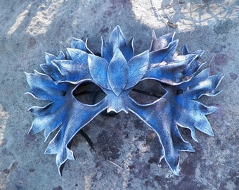 Winter Green Man hand made leather mask