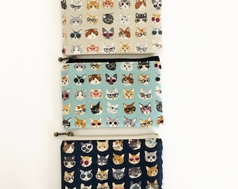 Mini zipper pouch  - Cats and glasses (3 colours)
