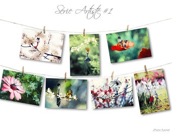 Set of seven cards art postcards 10x15cm - Dodinot/Loret artist series