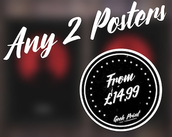 Any 2 posters! Minimalist Geek Art Print Discount Deal