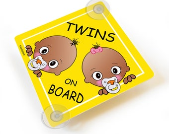Personalized twins brother and sister on board yellow car sign suction cups - CD102C