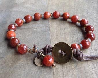 Fire agate bohemian bracelet gift for her boho chic bracelet womens jewelry boho bracelet rustic bracelet beaded hippie bracelet