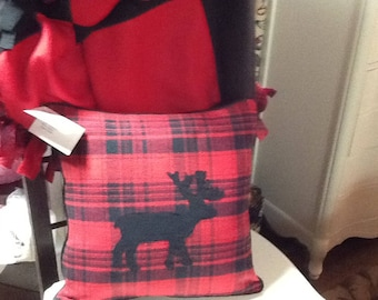 Red & Black Flannel Reindeer Christmas Pillow