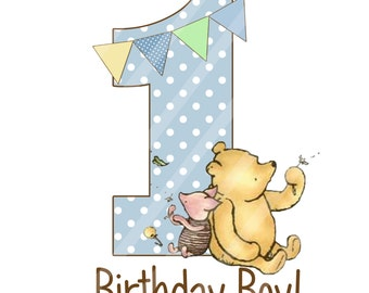Classic Winnie the Pooh Baby's Birthday Digital Download for iron-ons, heat transfer, Scrapbooking, Cards, Totes, DIY, YOU PRINT