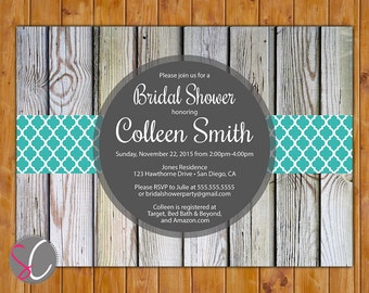 Teal Blue  Country Bridal Shower Invitation Outdoor shower Digital Wood Invite Birthday Party Printable 5x7 Digital JPG File (42)