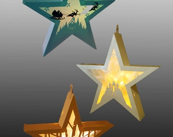 SET of 3 Hanging Star Lantern templates