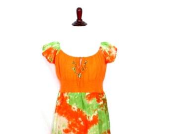 Vintage Tie Dye Maxi Dress 90's Orange Green Tie Dye Sundress Colorful Boho Dress Sheer Hippie Dress Tie Dyed Embroidered Dress