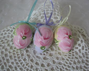 Easter Egg Ornaments Hand Painted Pink Roses Glitter Decor Spring Lilac Green Yellow
