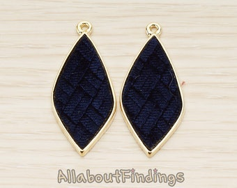 PDT1560-02-G-BU // Glossy Gold Plated Blue Colored Synthetic VELVET Covered Organic Diamond Pendant, 1 Pc