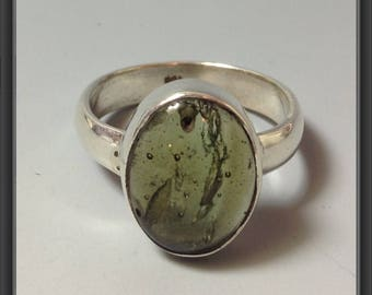 Ring with Moldavite US size 7