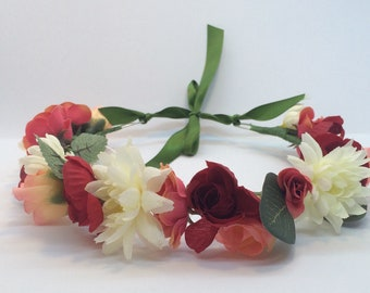 Hand-Made Red, Peach and White Flower Crown