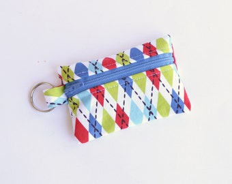 Ear Bud Case, Coin Purse, Small Zippered Pouch Socks Retro Argyle