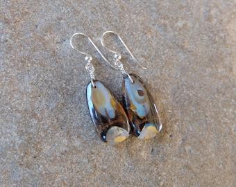 Unique Boulder Opal earrings -  handmade in Australia by NaturesArtMelbourne - crystal jewelry