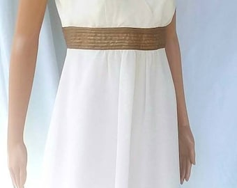 White and Gold sleeveless dress FREE SHIPPING