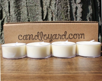 "Candle Yard Co 12 Unscented Soy Tealight Candles 1.5""W Made in USA"