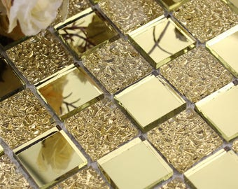 "Glass Mosaic Tiles Square Gold Mirror Backsplash Tile Bathroom Wall Tiles Floor Stickers Mirrored Cheap Tiles (6 PCS, 11.8""x11.8"" /each)"