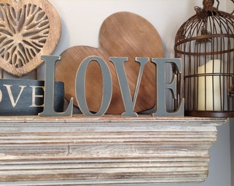 Set of 4 - Hand-painted Freestanding Letters, LOVE - Photo Props - 15cm
