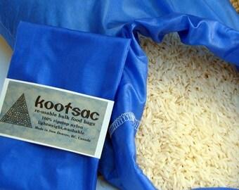 Reusable food pouch, reusable bulk bin food bag, produce bag, lightweight nylon, ripstop nylon bags, snack bag, rice bag, royal blue