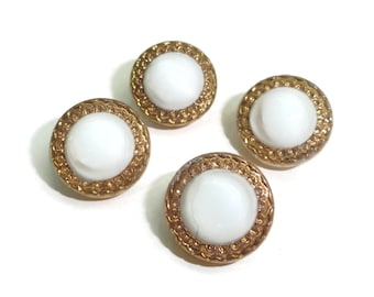 Moon Glow Glass Vintage Buttons - 4 Antique White Gold 1940s Your Choice of Sizes for Jewelry Beads Sewing Knitting