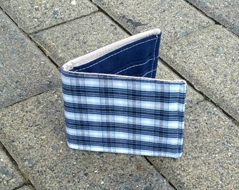 Vegan Wallet in Blue Plaid, Slim Cotton Wallet for guys or girls, men or women, boyfriend gift