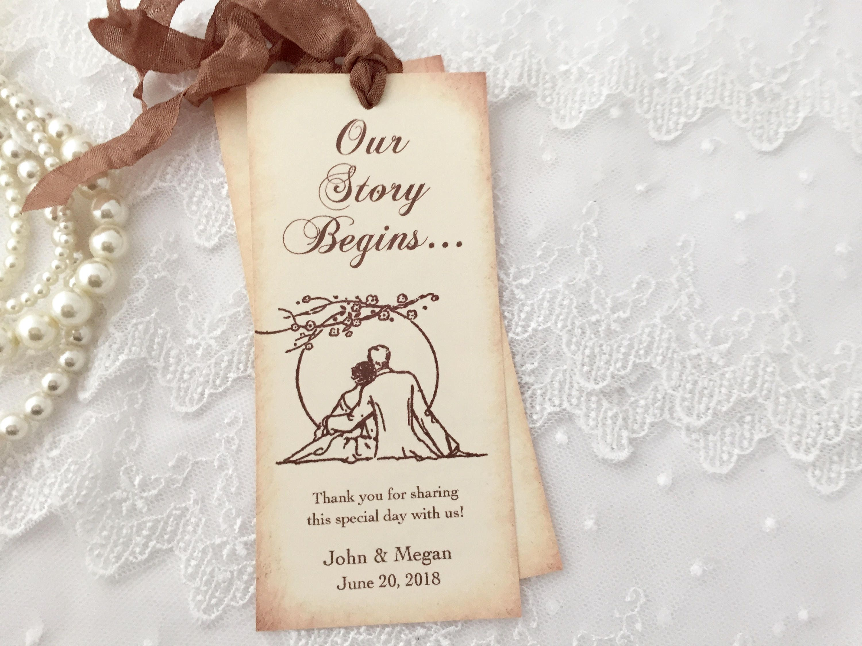 Wedding Favors Bookmarks Romantic Sunset Our Story Begins