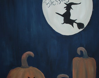 Primitive Style Halloween Pumpkin Patch Witch Acrylic Painting on Wrapped Canvas
