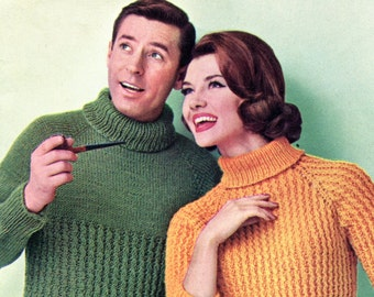 His & Hers Knit Turtleneck Sweater Patterns