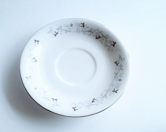 Moon Mist Fine China Saucer Gray and White Floral