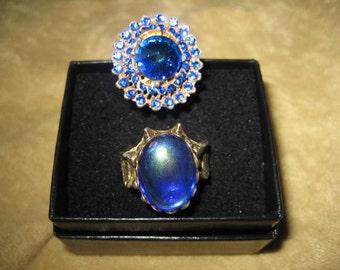 Blue Rhinestone Costume Rings Adjustable Vintage