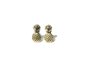 Pineapple earrings - Tiny gold brass pineapple studs earrings with sterling silver posts