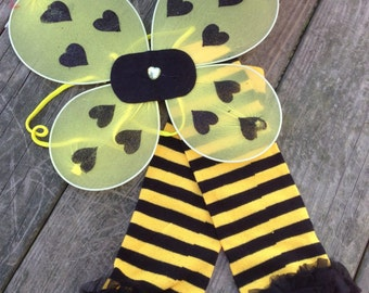 Bumblebee Wing and Leg warmer set, Halloween costume, girls bumblebee wings