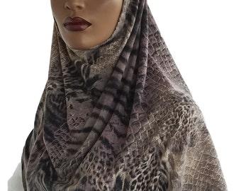 Amira Hijab Hoodie Al Amira Beige Black Animal Print Stretch Cotton Jersey Knit Handmade