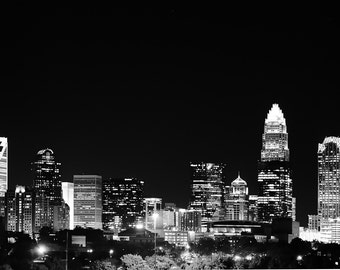 Charlotte Skyline at night in Black and White