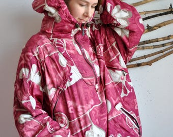 Pattern Anorak, Womens Sport jacket, 90s Track suit, 80s Ski jacket, Retro, Abstract print, Festival Windbreaker, Oversize, Raincoat, Size L
