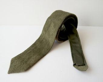 Vintage  Suede Leather Skinny Tie, Olive Green  Suede Necktie, 1980s
