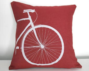 Bike Pillow Cover 16 x 16 Inch Cotton Bicycle Screenprint