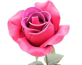 Hot pink leather rose leather flower third anniversary wedding gift long stem flower 3rd anniversary leather anniversary bouquet