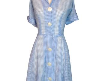 Original Vintage 1950's Sheer Day Dress Volup 33 Waist