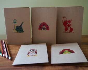 Eco friendly card set - snake - owl - ladybug - fox - tortoise -recycled brown - kraft -blank notecard- invites- thank you- limited edition