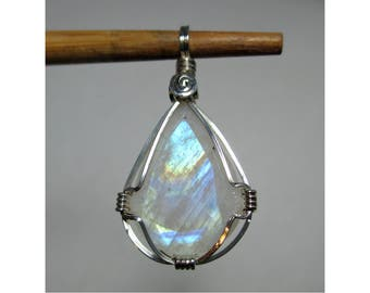 12 carat RAINBOW MOONSTONE Faceted Teardrop Pendant - Argentium Sterling Silver Wirewrap - ww1082