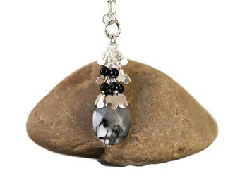 Black and Silver,Rutilated Quartz,Dainty and Delicate Necklace,Minimalist Jewelry,Gemstone Necklace