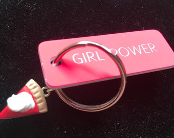 Girl power red keychain w polymer clay pie