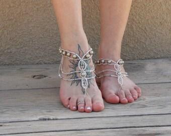 Chain Barefoot Sandals, Platinum Wedding Sandals, Crystal Bride Sandals, Beach Wedding Shoes, Bridesmaid Sandals, Barefoot Wedding Sandals