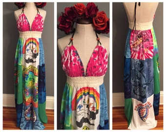 Grateful Dead t shirt, vintage grateful dead t shirt, grateful dead dress, patchwork dress, boho dress, festival dress, hippie dress,