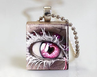 Pink Fantasy Eye Frozen - Scrabble Tile Pendant - Free Ball Chain Necklace or Key Ring